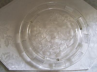"""Etched Glass Floral Cake Plate 11 1/4"""" Ornate"""