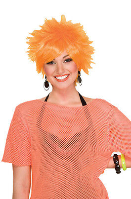 Orange Pixie Punk Rock 80's Wig for Halloween Costume