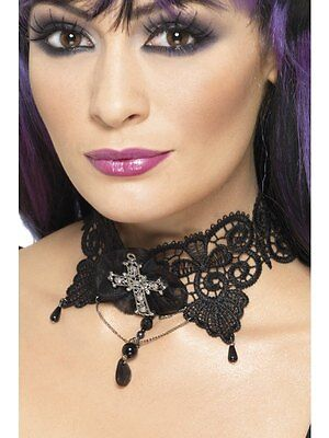 Gothic Vamp Lace Choker Halloween Horror Fancy Dress Costume Party Accessory