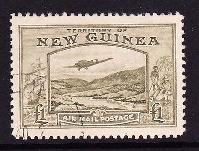 New Guinea 1939 £1 Olive-Green Sg 225 Fine Used.