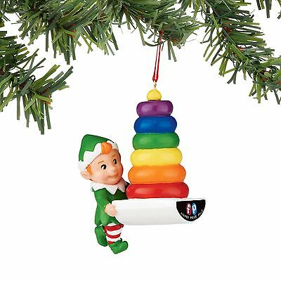 4051727 Dept 56 Fisher Price Rock A Stack Elf  Christmas Ornament NWT