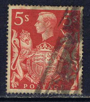 Great Britain #250(2) 1939 5 shilling George VI & Royal Arms Used CV$2.25