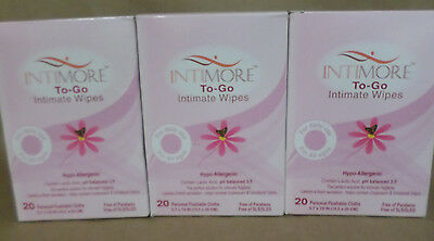 Intimore To Go Intimate Wipes Hypoallergenic 20 Personal Flushable Cloths