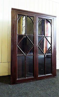 Antique glazed wall hanging corner cupboard / display cabinet