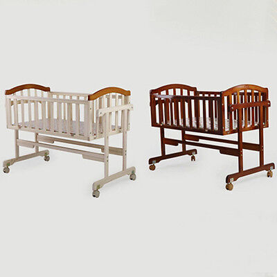 Baby Crib Bedding Durable Solid Wooden Infant Bassinet Safety Newborn Cradle New