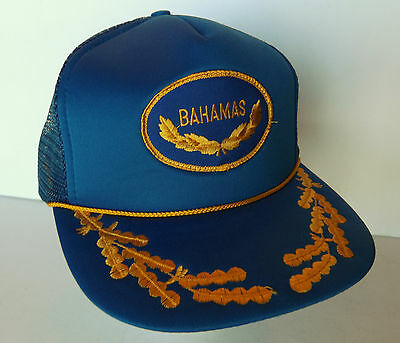 Vintage Trucker Bahamas Mesh SnapBack Cap Snap Back Hat Royal Blue Gold  Leaves c68e3427180d
