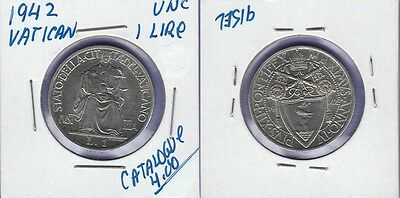 Vatican 1 Lire Coin 1942 Uncirculated Condition