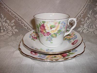Royal Vale Vintage Pale Pinks & Lemon Afternoon Tea Cup Saucer & Tea Plate Trio