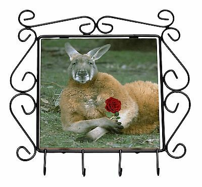 Kangaroo with Red Rose Wrought Iron Key Holder Hooks Christmas Gift, AK-1RKH