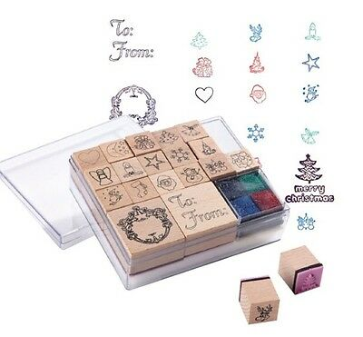 """New Christmas 'Clerado"""" Stamp Set 20 Wooden Stamps."""