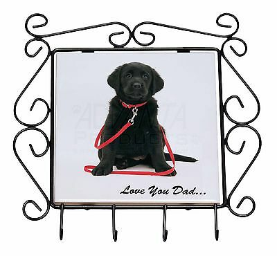 Goldador Dog 'Love You Dad' Wrought Iron Key Holder Hooks Christmas Gi, DAD-69KH