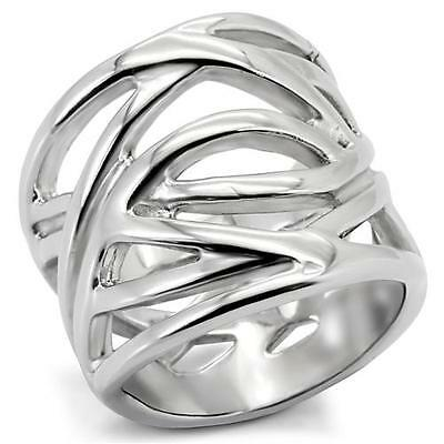 Stainless Steel Bold Weave  Wide Band Modern Unique Eternity Silver Tone Ring
