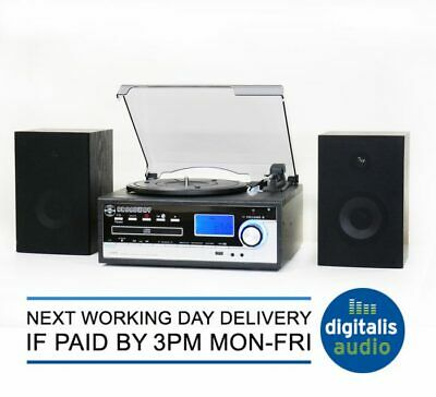 Steepletone Broadway Black Bluetooth Music Centre Record from CD/LP to MP3 NEW