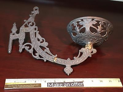 Antique Cast Iron East Lake DOUBLE Swing Arm Bracket Oil Lamp RARE VERY ORNATE