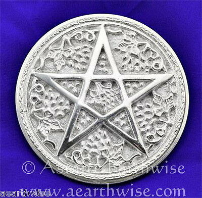 SILVER METAL PENTAGRAM ALTAR TILE 152 mm Pagan Wicca Witch Goth Occult PENTACLE
