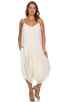 New Womens Plus Size White Harem Jumpsuit Romper Sizes 1x 2x Made In Usa