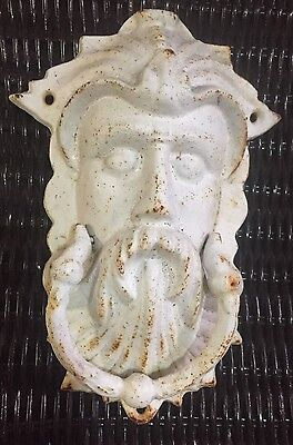 Large White Painted Cast-Iron Door Knocker Man Face, King Neptune, Or Northwind