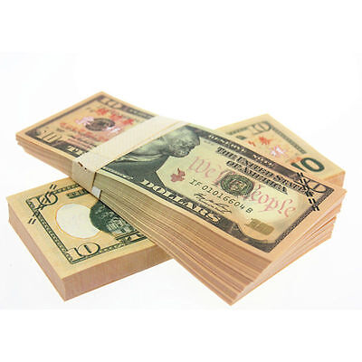 100pcs 1:1 USD $10 Dollars Play Money Training Banknotes Paper Money UNC 213