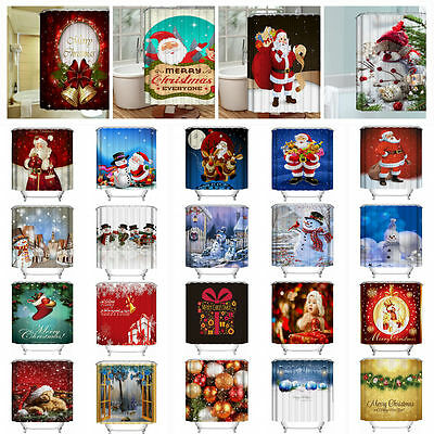 NEW 30 Styles Christmas Xmas 3D Printed Bathroom Shower Curtain Waterproof Decor