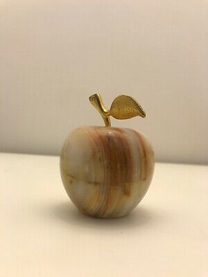 Vintage  Heavy Onxy Marble Decorative / Paperweight Apple Shaped Ornament