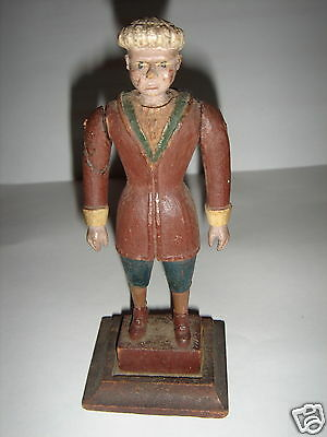 Primitive Hand Carved & Original Paint Wood Figure Statue Doll 1700's Red Coat