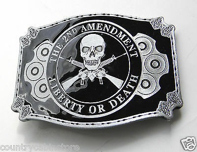 2nd Amendment Liberty or Death Zinc Enamel Belt Buckle 3 1/4 inches Made in USA