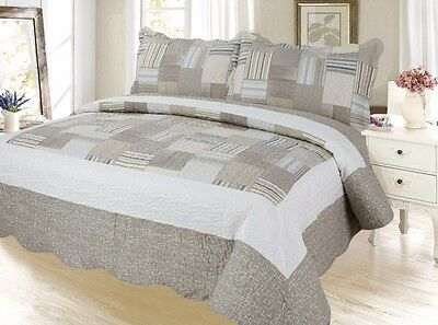 Plaid Printed Bedding 3 Pc Bedspread Coverlet Quilt Set, Khakhi (K Q T Size)