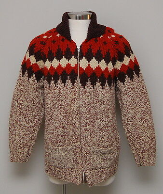 Vintage Mens Medium Brown/Red/Cream Wool Cowichan Zip Cardigan Sweater