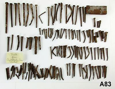 90 + Antique Hand Made Forged Square Head Nails & Pieces Fort Stockton Texas A83
