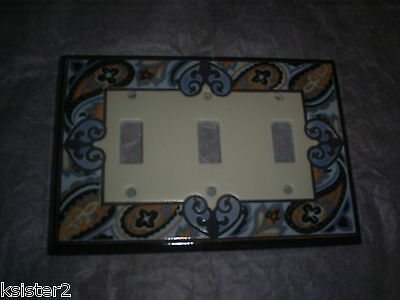 PAISLEY hippie LIGHT SWITCH  COVER paisley tripleTOGgLE LIGHT SWITCH repaired