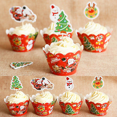 24pcs Christmas Cake Muffin Cupcake Wrappers Cases Wraps Toppers Party Decor UK