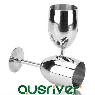 2xDurable 265ml Stainless Steel Wine Glasses Goblets Champagne Bar Party Banquet