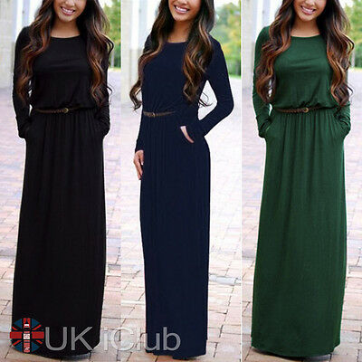 Women Long Sleeve Boho Maxi Dress Evening Cocktail Party Belted Long Dresses 14