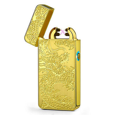 Rechargeable USB Electric Double Arc Gold Lighter Pulse Flameless Cigar Torch
