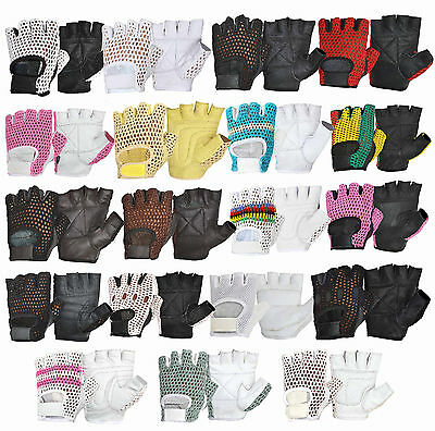 Gym Gloves Weight Lifting Leather Workout Bodybuilding Training Fitness S - XXL