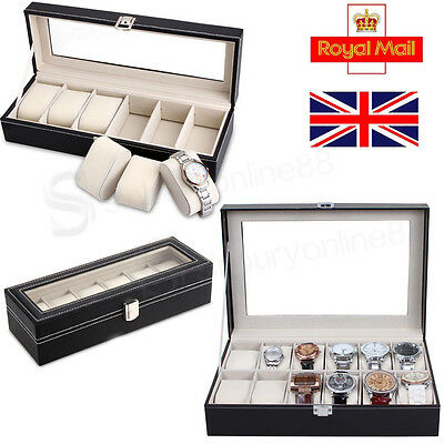 Faux Leather Watch Case Storage Display Box Jewelery Glass Organizer Collection