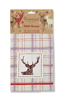 Cooksmart Winter Stag Fabric Table Runner 45x200cm Tartan Christmas Xmas Dining