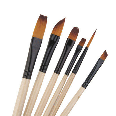 Pro 6 Nylon Hair Acrylic Watercolor Pointed Tip Artists Oil Paint Brush D923