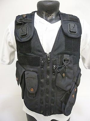 Ex Police Black Tactical Tac Load Bearing Speedcuffs Equipment Vest Carrier PX6