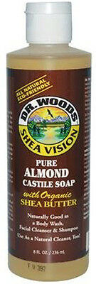 Liquid Castile Soap with Organic Shea Butter, Dr. Woods, 8 oz Almond