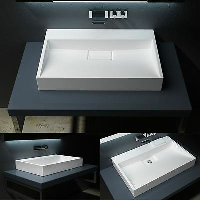 Durovin Bathroom Solid Stone Resin Basin Sink Wall Hung Counter Top Mount 700mm