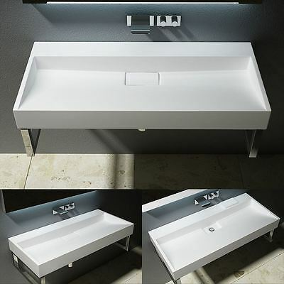 Large Double Solid Stone Resin Basin Sink Wall Hung Or Counter Top Mount 1200mm