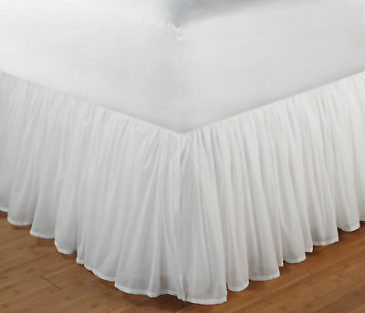 Greenland Home GL-1107FBSQ Cotton Voile Bed Skirt 15 Inch Queen White NEW