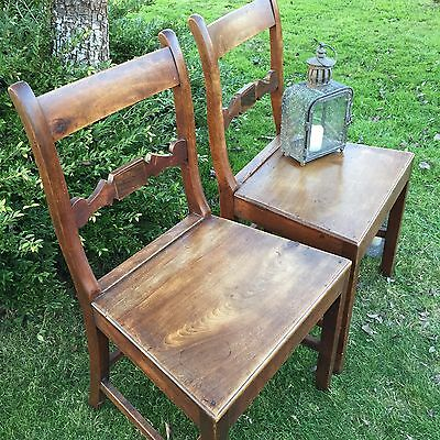 A Pair of Charming Antique Vintage Country Farmhouse Wooden Chairs
