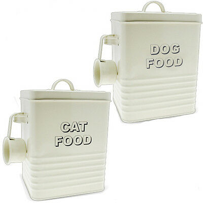 Dog Cat Food Storage Container With Scoop Enamel Lid Tin Home Retro Vintage New