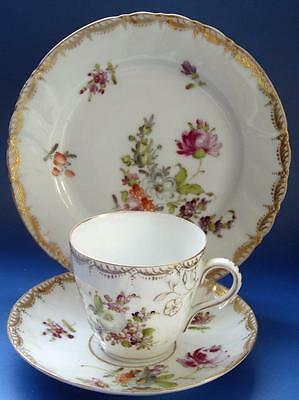 Antique Dresden Porcelain Cup Saucer Plate Hand painted Flowers