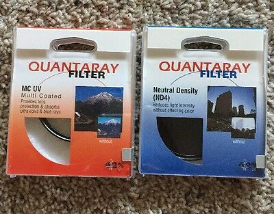 New Quantaray UV Multi-Coated & Neutral Density 4, Two 62 mm Filters