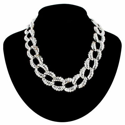Collar Necklace Silver Tone Ribbed Chunky Cable Link Chain 18""