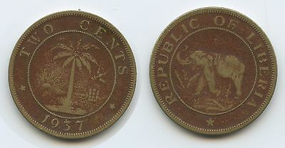 G1306 - Liberia Two Cents 1937 KM#12 Elefant