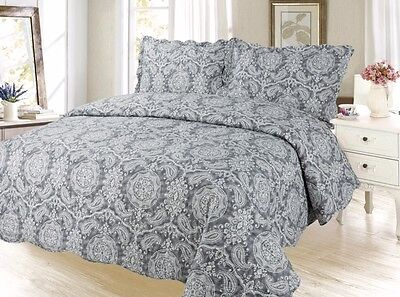 Paisley Bedding 3Pc Bedspread Coverlet Quilt Set, Black Gray, King Queen Twin